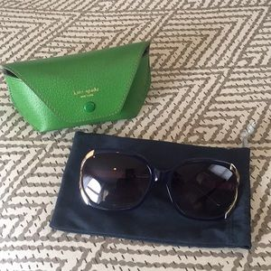 Kate Spade Large Round Gold Frame Sunglasses